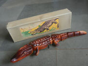 Rare Vintage Wind Up Boxed Mt Trademark Celluloid Crocodile Toy Japan