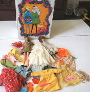 1968 Barbie Doll Trunk And Vintage Clothes And 2 Vintage Barbie Dolls