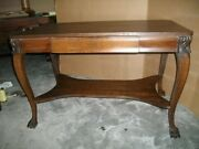 Large Early American Solid Oak Desk / Center Table With Claw Feet