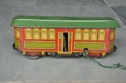 Rare Vintage Wind-up Fish Mark Litho Train / Tram Tin Toy Germany Fischer