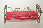 Vintage Fine Unique Handcrafted Tin Baby Doll House Sleeping Bed Toy , Germany
