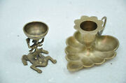 2 Pc Old Brass Unique Leaf And Frog Shape Oil And Candle Lamps