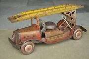 Rare Vintage Wind Up Litho Big Crane/fire Department Truck Tin Toy