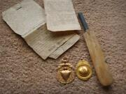2 X 9ct Yellow And Rose Gold Cricket Medals / Fobs + Bat + Paperwork 1919-1931