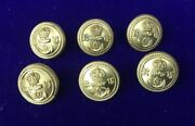 Vintage 6 X Navy Military 22mm Gold Gilt Anchor Crown Rv Ru Jacket Coat Buttons