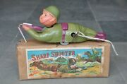 Vintage Boxed Alps Trademark Celluloid Soldier Sharp Shooter Toy , Japan