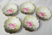 Lot 5 Antique Rs Prussia Pink Rose White To Green Berry Bowls Gold Trim Marked