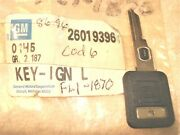 Ignition Switch Key Blank Nos 26019396 86-96 Corvette And Other Gm Cars