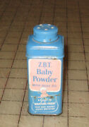 Vintage Z.b.t. Baby Powder With Olive Oil 3 And 1/2 Tall Blue And Pink Tin Nice