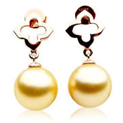 11mm Pacific Pearls® Australian South Sea Golden Pearl Earrings Gifts For Sister