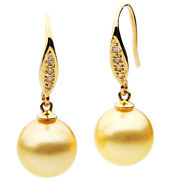 New Pacific Pearlsandreg South Sea 12mm Golden Diamond Pearl Earrings Christmas Gifts