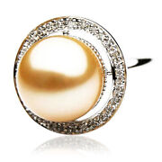 Genuine 14mm Pacific Pearlsandreg South Sea Golden Diamond Pearl Ring Thank You Gifts