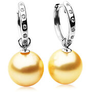 New Pacific Pearlsandreg South Sea Golden Diamond 11mm Pearl Earrings Thank You Gifts