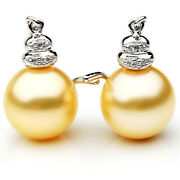 New Pacific Pearlsandreg South Sea Golden 11mm Diamond Pearl Earrings Christmas Gifts