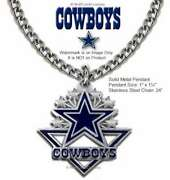 Dallas Cowboys Necklace 24 Stainless Steel Chain - Nfl Football Free Ship Ca'
