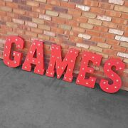 Games Game On Play Arcade Video Pinball Rustic Metal Marquee Light Up Sign