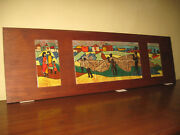 Harris G Strong 12 Tile Mural Triptych Wall Hanging Art Fishing Village Scene