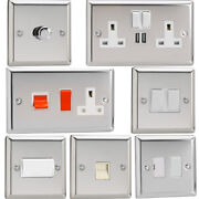 Varilight Mirror Chrome Standard Plate Switches Sockets Etc With White Inserts