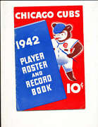 1942 Chicago Cubs Player Roster And Record Book Ex