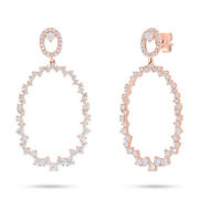 14k Rose Gold Round Diamond Dangle Drop Oval Earrings 1.45ct Natural Jewelry