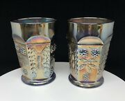 Pair Iridescent Cobalt Blue Carnival Glass Butterfly And Berry 4 1/8 Andldquo Tumblers