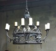 12 Light Old World Iron Chandelier - 31 Tall And 40 Dia.