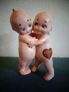 Antique Rose O'neill Bisque German Kewpie Doll Huggers W/stickers Labels