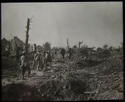 Glass Magic Lantern Slide Battle Of The Somme French Soldiers Ww1 Photo