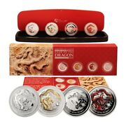 Australia Year Of The Dragon 4 Ounces 2012 4 Silver Crown Set Perth Mint Case And