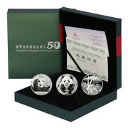 China 50th Anniversary World Wildlife Fund 2 Silver Coins + Wwf Medal 2011 Mint
