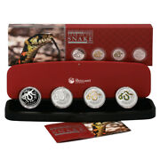 Australia Year Of The Snake 4 Coin Type Set 2013 Silver Crowns Perth Mint Case C