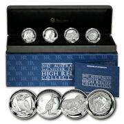 Australia High Relief Collection 4 Piedfort Proof Silver Coins 2012 Perth Mint B