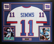 Phil Simms Autographed And Framed White New York Giants Jersey Jsa Coa D4-l