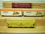 4 Ho Collector Cars 2 Mantua Boxcars+ Roundhouse And Athearn Hoppers Vg+deal