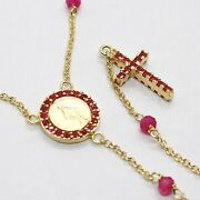 18k Yellow Gold Rosary Necklace, Faceted Red Ruby Root, Cross And Miraculous Medal