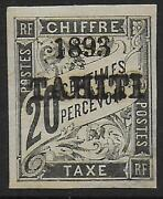 French Tahiti Stamps 1893 Yv Due 8 Signed Mlh Vf