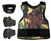 Maddog Tactical Half Finger Glove Chest Protector And Neck Combo Trio Camo Smd