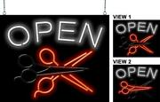 Open With Animated Scissors Neon Sign   Jantec   30 X 24   Salon Hair Barber