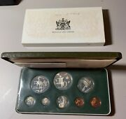 1974 Trinidad And Tobago 8 Coin Proof Set- Sterling Silver- W/box And Coa