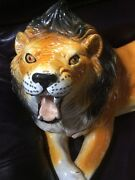 Vintage Large Hand Painted Fired Glazed Terracotta Lion Cat Italy Italian Heavy