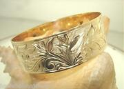 20mm 14k Yellow Gold Custom-made Personalized Hawaiian Garden Of Paradise Bangle
