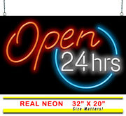 Open 24 Hours Neon Sign   Jantec   2 Sizes   Business Store All Hours Diner Bar