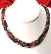 Natural Multi-color Tourmaline Beads 14k Gold Clasp Necklace 17 Free Shipping