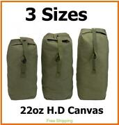 Heavy Duty Canvas Military Army Duffle Bag Outdoor Sports Rucksack 3 Size Large