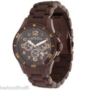 New Marc Jacobs Brown Siliconesteel Chronograph Marine Rock Watch-mbm3122