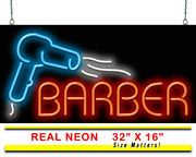 Barber With Hair Dryer Neon Sign   Jantec   32 X 16   Haircut Shave Trim Style