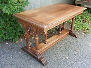 Antique French Renaissance Carved Writing Desk Table W/ Cherubs
