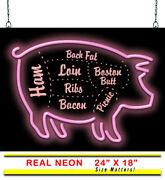 Bbq Neon Sign | Jantec | 24 X 18 | Barbecue Neon Light Pig Cuts Catering Grill