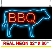 Bbq With Cow Neon Sign   Jantec   32x 20  Beef Bar-b-que Barbecue Steak Burger