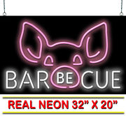 Barbecue With Pig Face Neon Sign | Jantec | 32 X 20 | Bbq Bar-b-que Barbeque